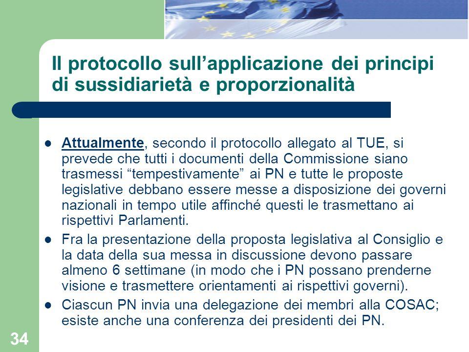 Il protocollo sull'applicazione dei principi di sussidiarietà e proporzionalità