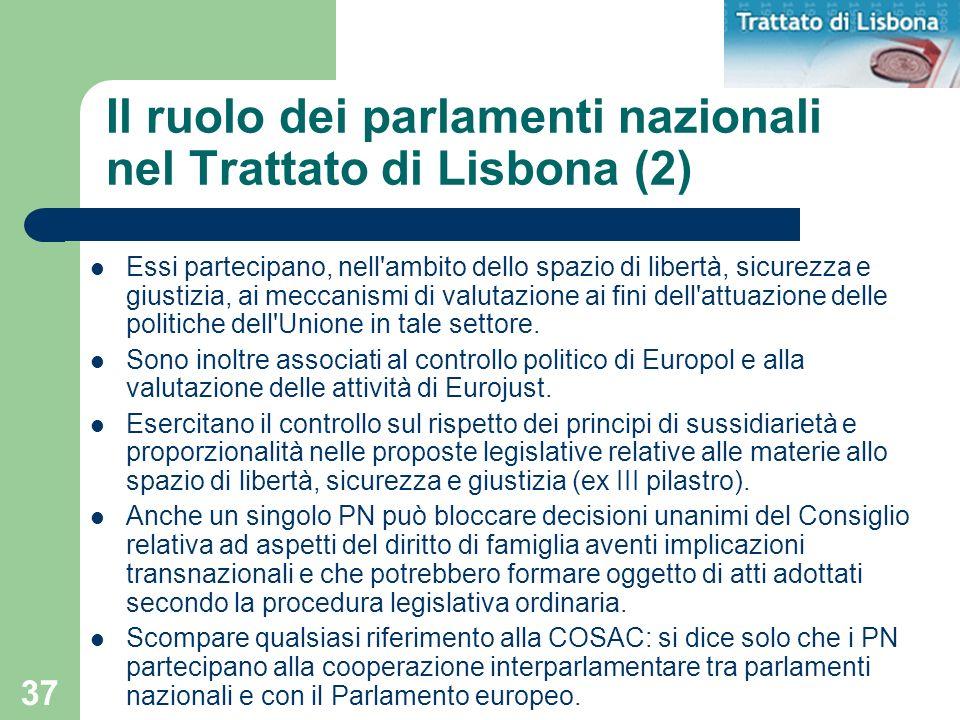 Il ruolo dei parlamenti nazionali nel Trattato di Lisbona (2)