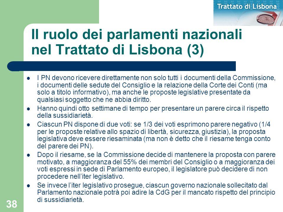 Il ruolo dei parlamenti nazionali nel Trattato di Lisbona (3)