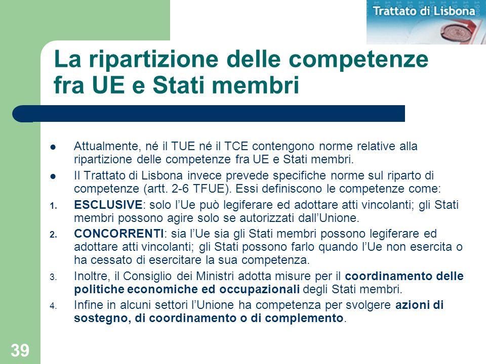 La ripartizione delle competenze fra UE e Stati membri