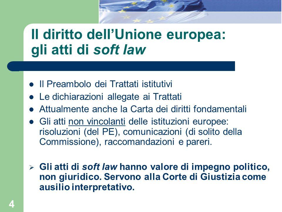 Il diritto dell'Unione europea: gli atti di soft law