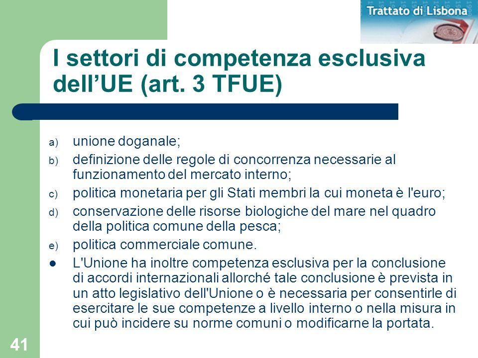 I settori di competenza esclusiva dell'UE (art. 3 TFUE)