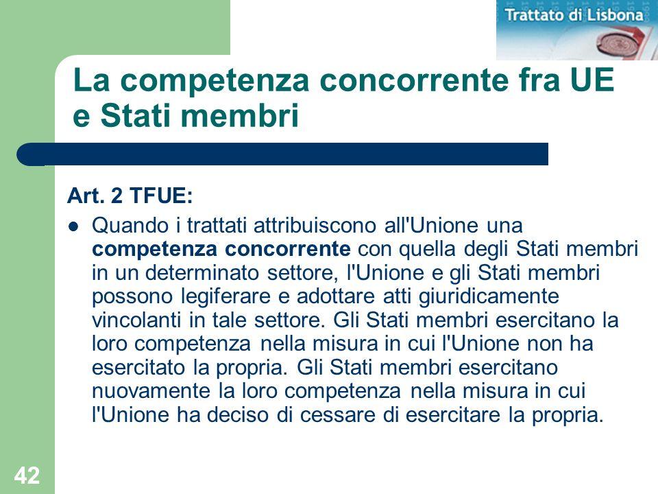 La competenza concorrente fra UE e Stati membri