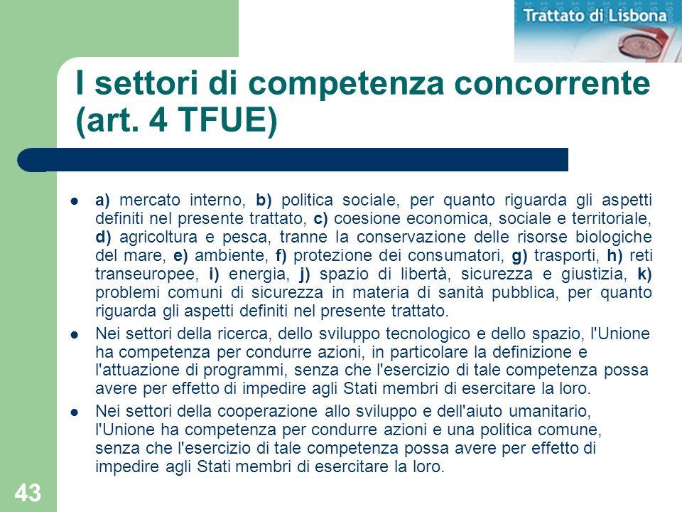 I settori di competenza concorrente (art. 4 TFUE)