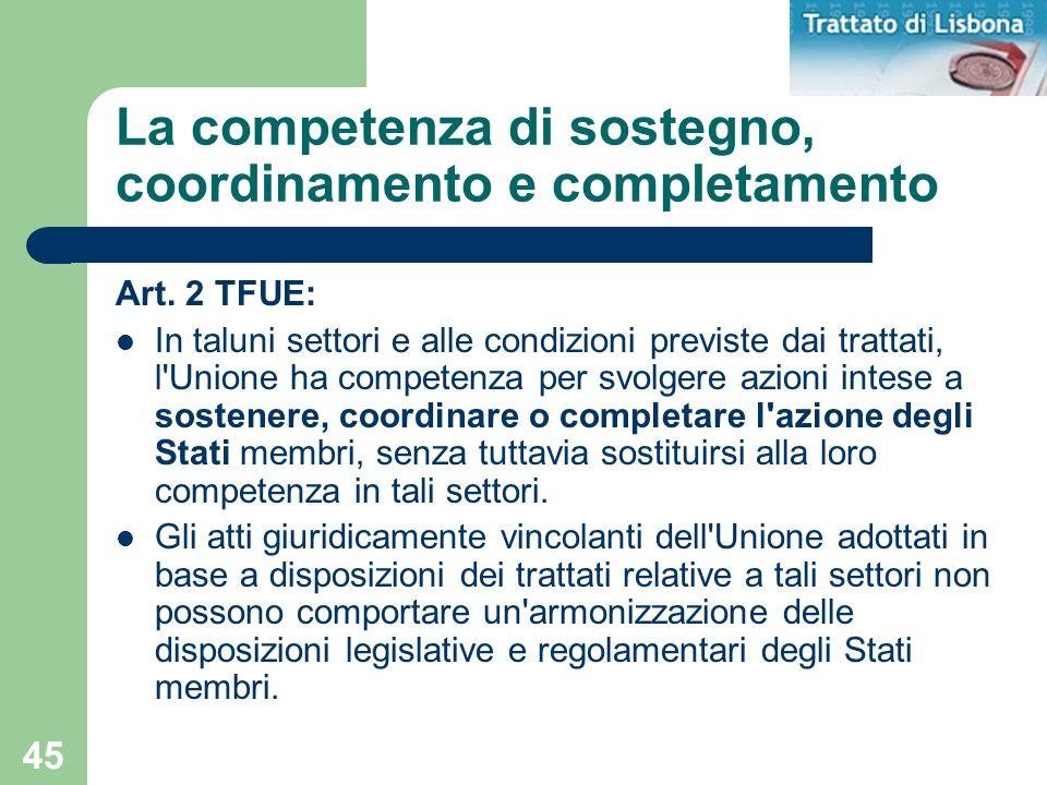 La competenza di sostegno, coordinamento e completamento