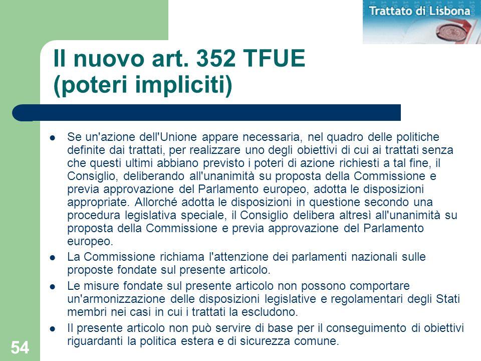Il nuovo art. 352 TFUE (poteri impliciti)