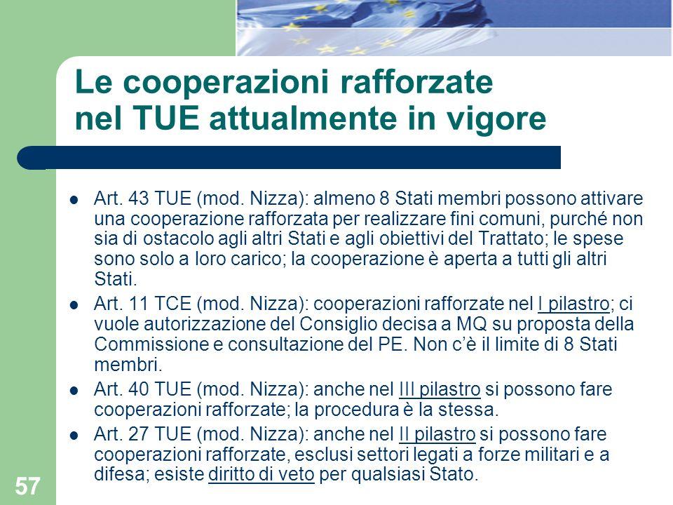 Le cooperazioni rafforzate nel TUE attualmente in vigore