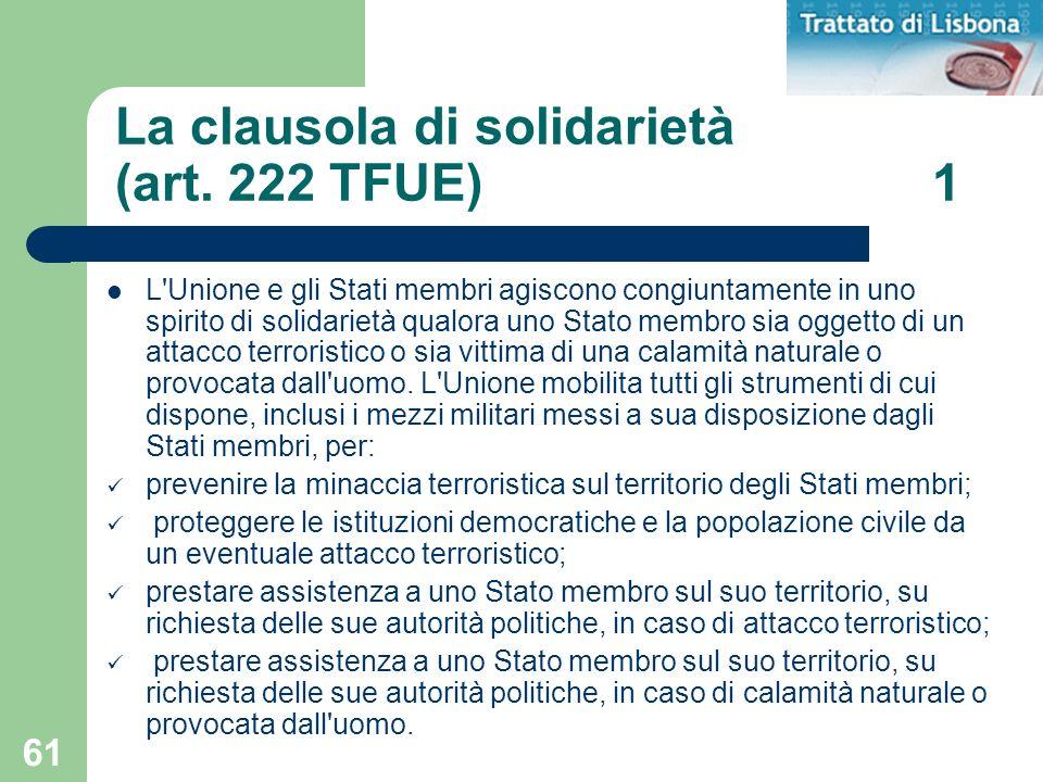 La clausola di solidarietà (art. 222 TFUE) 1
