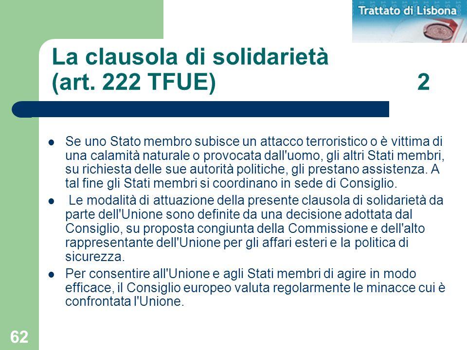 La clausola di solidarietà (art. 222 TFUE) 2