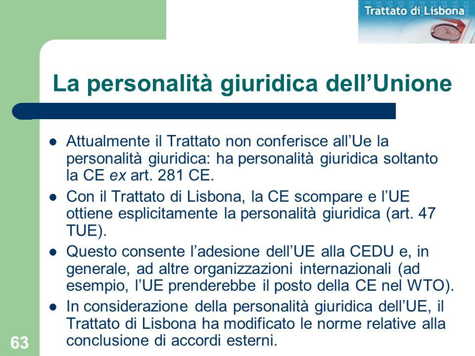 La personalità giuridica dell'Unione