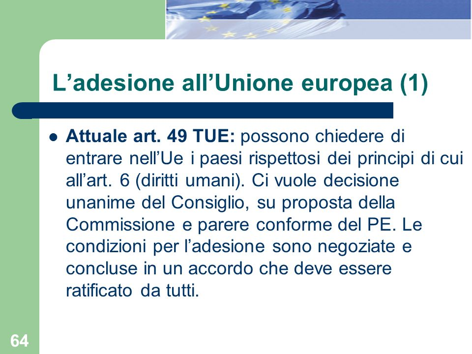 L'adesione all'Unione europea (1)