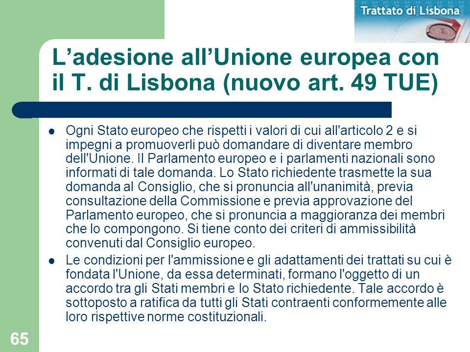 L'adesione all'Unione europea con il T. di Lisbona (nuovo art. 49 TUE)