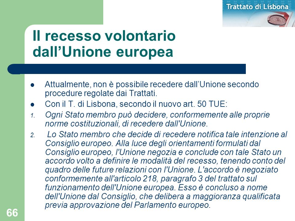 Il recesso volontario dall'Unione europea