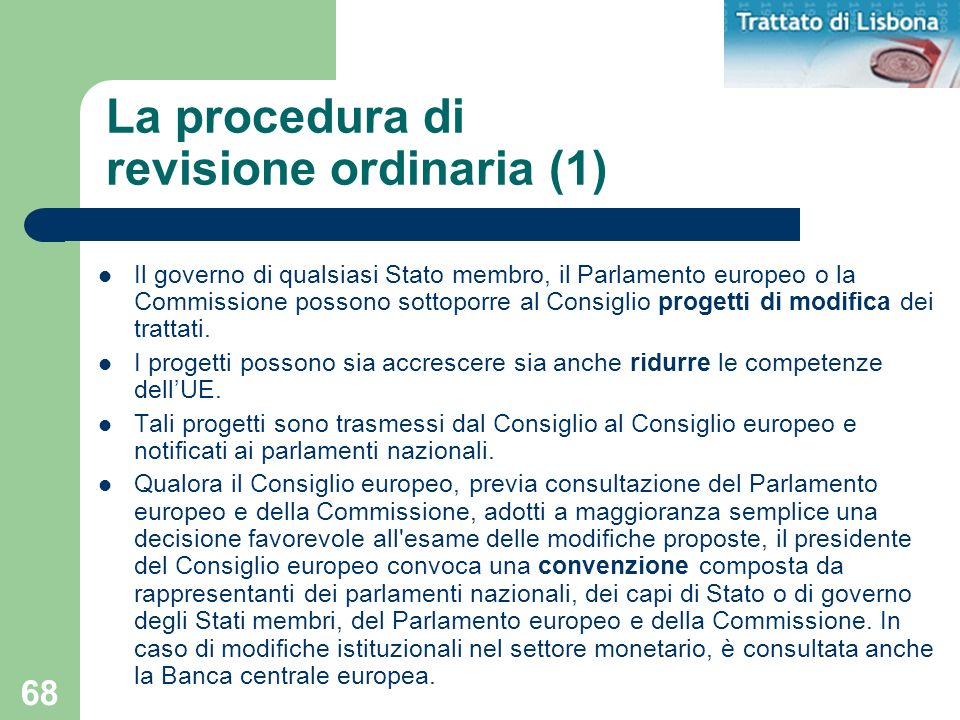La procedura di revisione ordinaria (1)