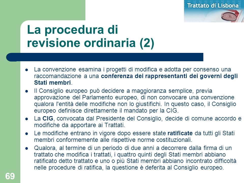 La procedura di revisione ordinaria (2)
