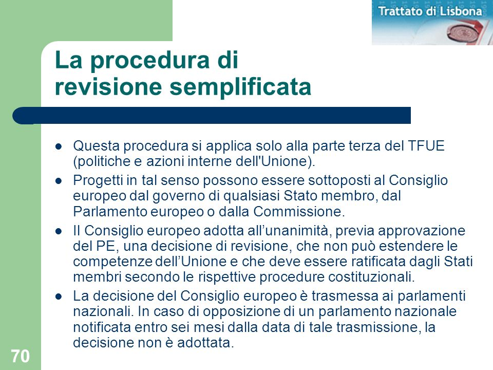 La procedura di revisione semplificata