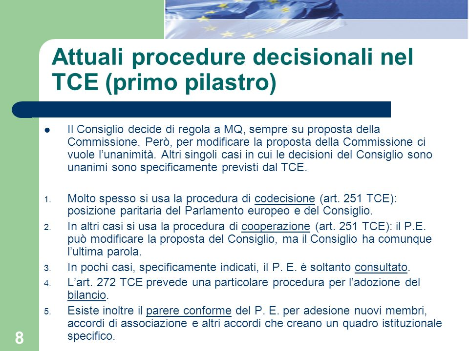 Attuali procedure decisionali nel TCE (primo pilastro)