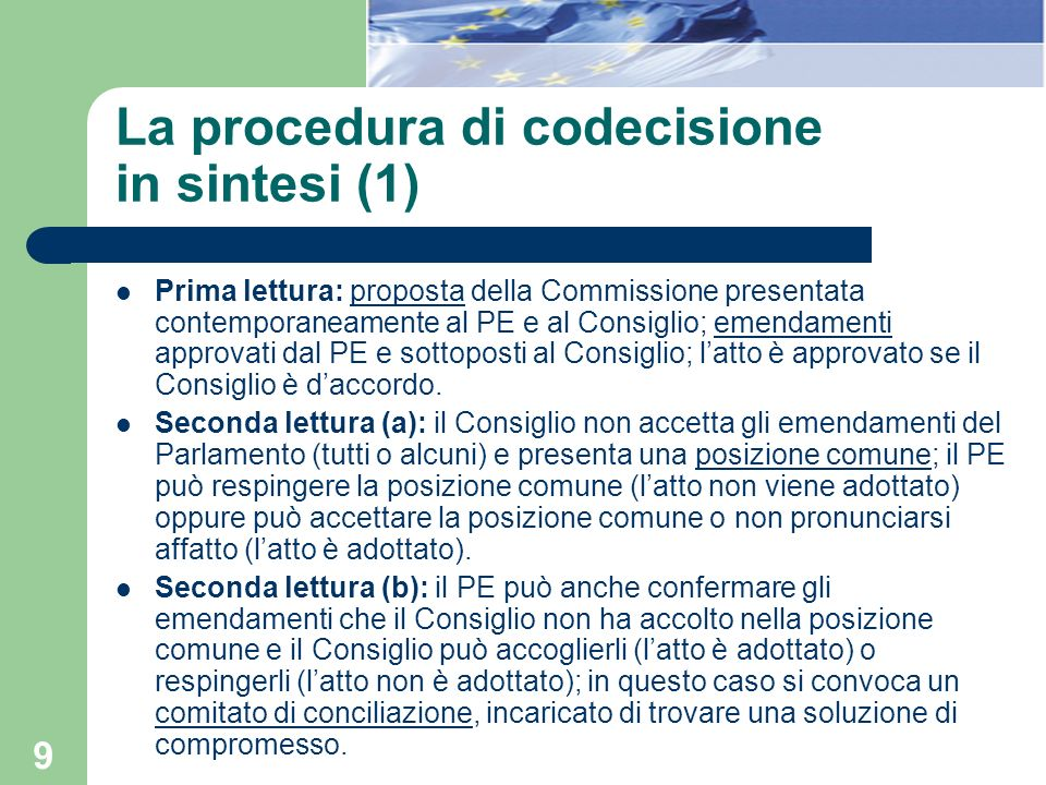 La procedura di codecisione in sintesi (1)