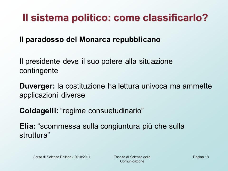 Il sistema politico: come classificarlo
