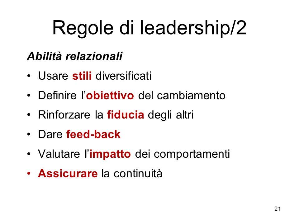 Regole di leadership/2 Abilità relazionali Usare stili diversificati