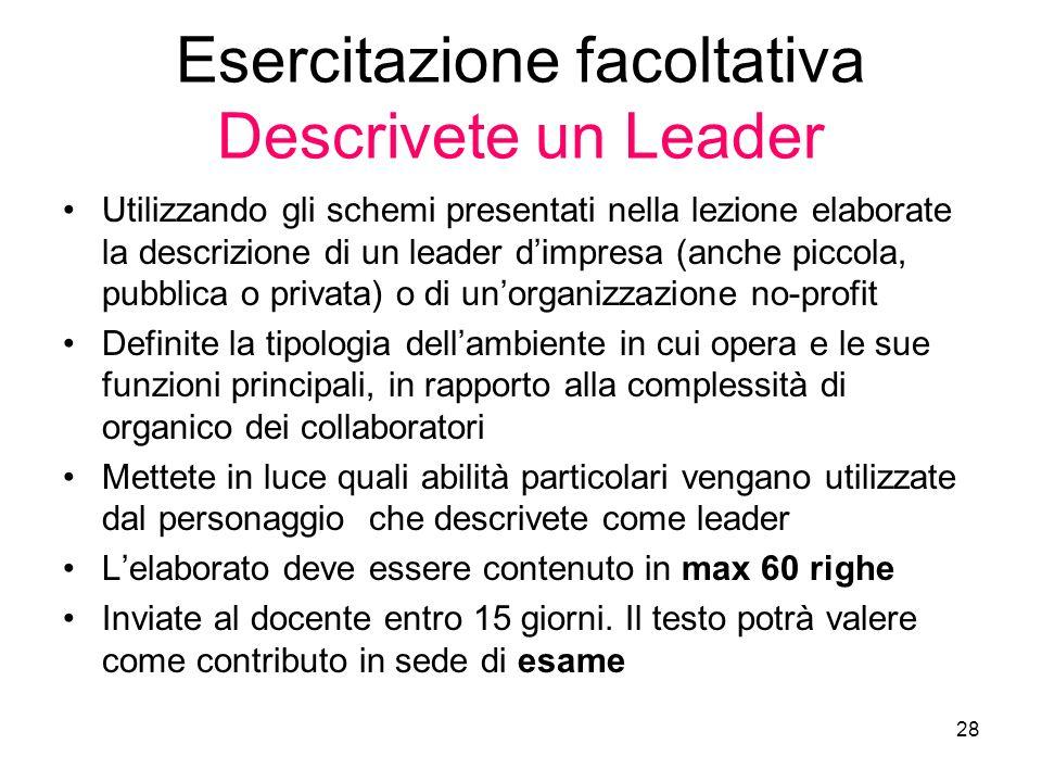 Esercitazione facoltativa Descrivete un Leader