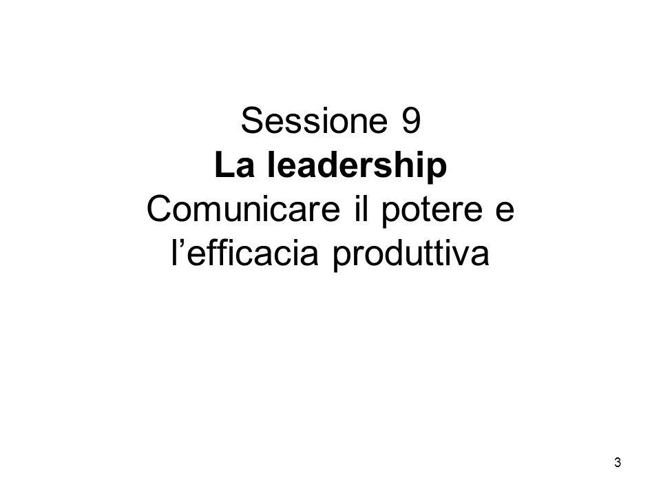 Sessione 9 La leadership Comunicare il potere e l'efficacia produttiva