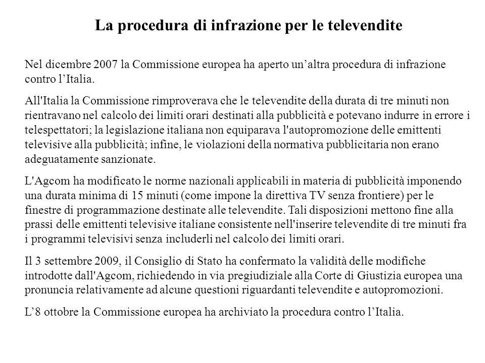 La procedura di infrazione per le televendite