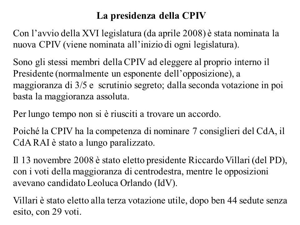 La presidenza della CPIV