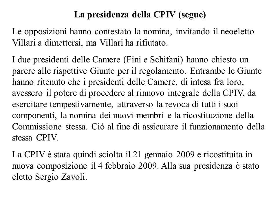 La presidenza della CPIV (segue)