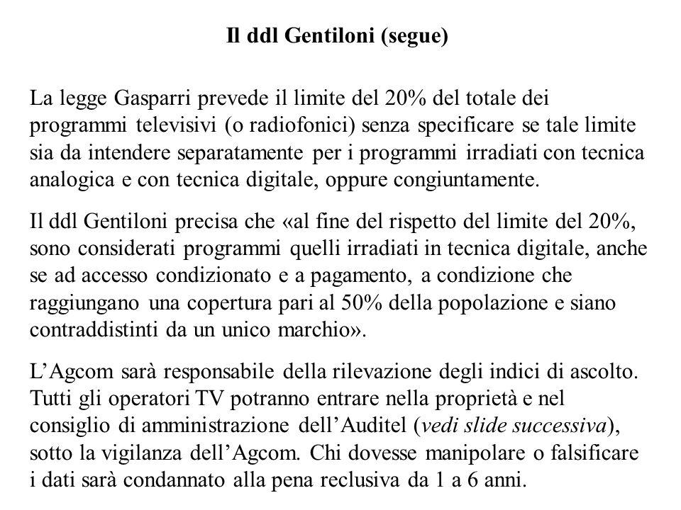 Il ddl Gentiloni (segue)