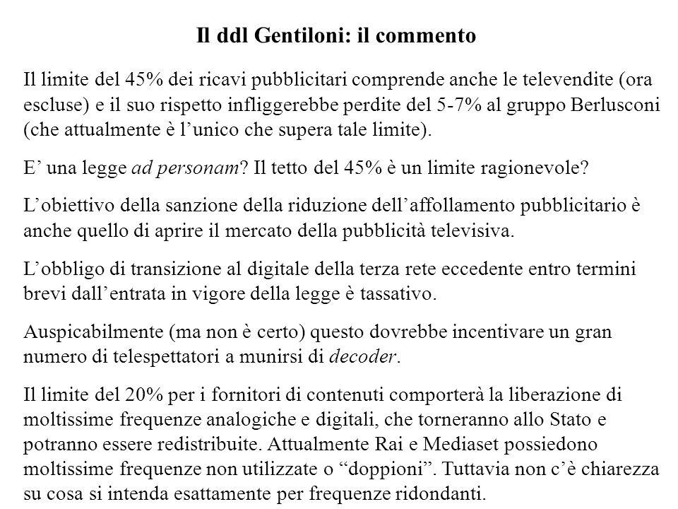 Il ddl Gentiloni: il commento