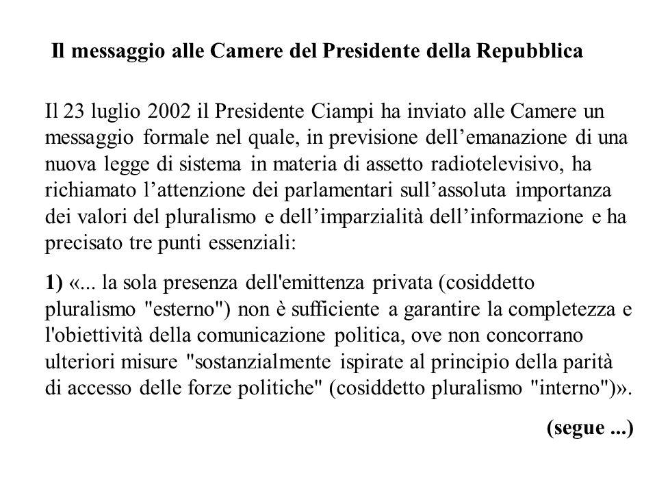 Il messaggio alle Camere del Presidente della Repubblica