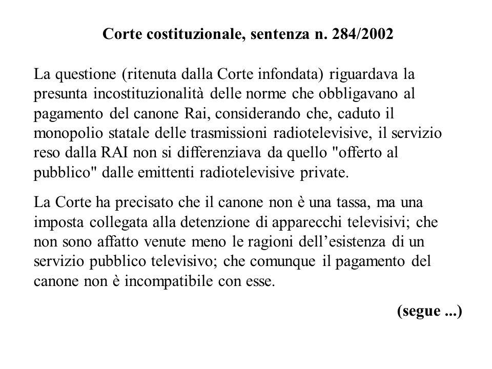 Corte costituzionale, sentenza n. 284/2002