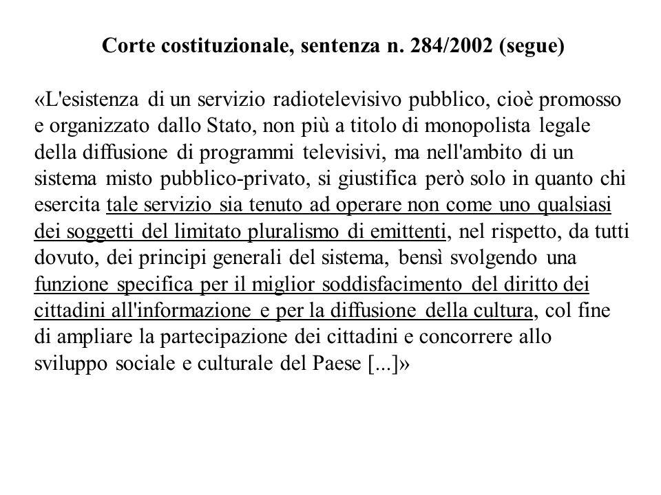 Corte costituzionale, sentenza n. 284/2002 (segue)
