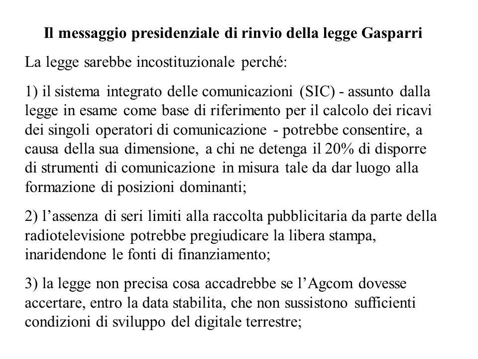 Il messaggio presidenziale di rinvio della legge Gasparri