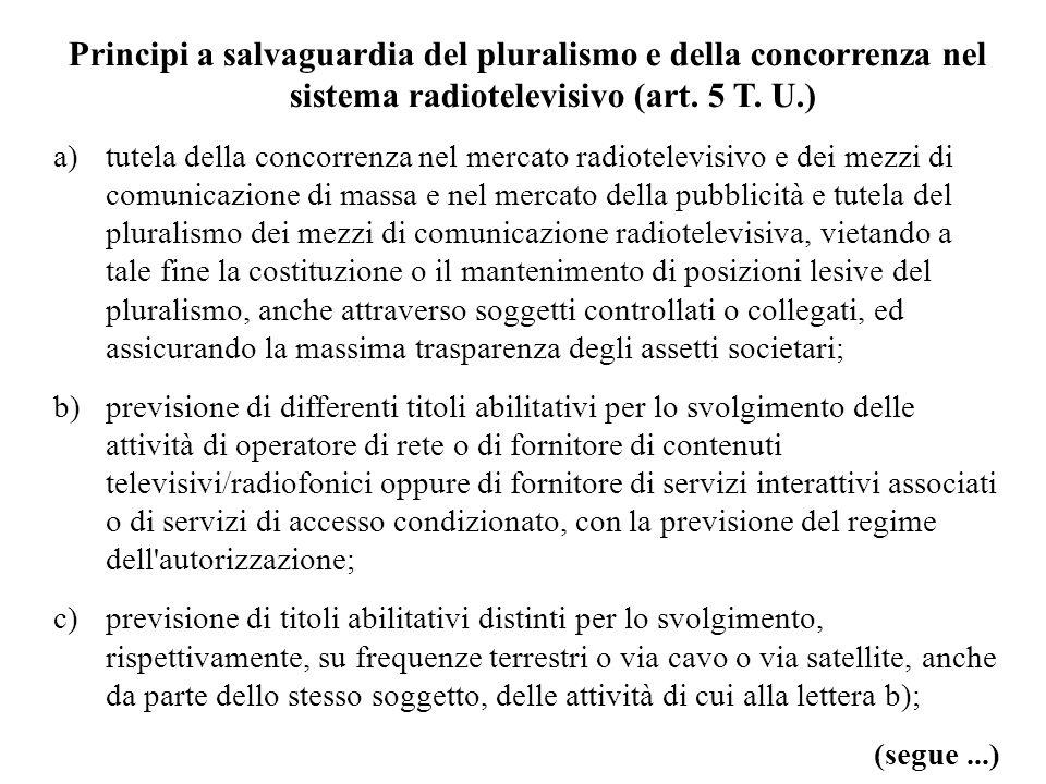 Principi a salvaguardia del pluralismo e della concorrenza nel sistema radiotelevisivo (art. 5 T. U.)