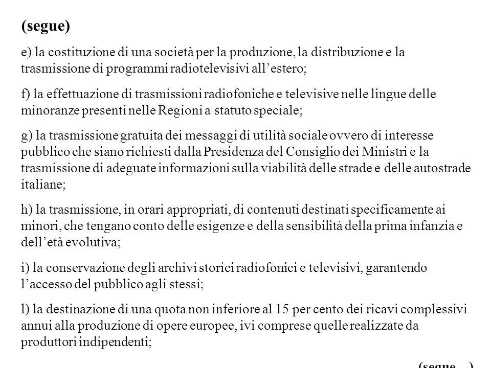 (segue) e) la costituzione di una società per la produzione, la distribuzione e la trasmissione di programmi radiotelevisivi all'estero;