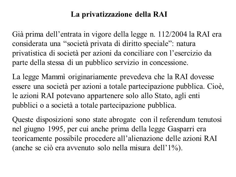La privatizzazione della RAI