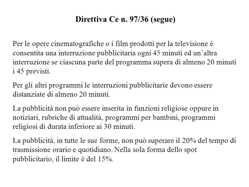 Direttiva Ce n. 97/36 (segue)