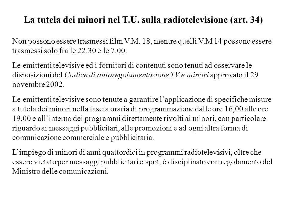 La tutela dei minori nel T.U. sulla radiotelevisione (art. 34)