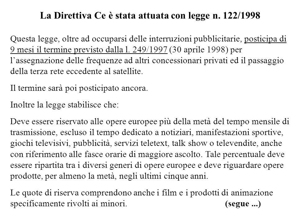 La Direttiva Ce è stata attuata con legge n. 122/1998