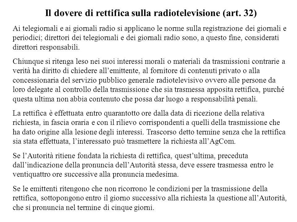 Il dovere di rettifica sulla radiotelevisione (art. 32)
