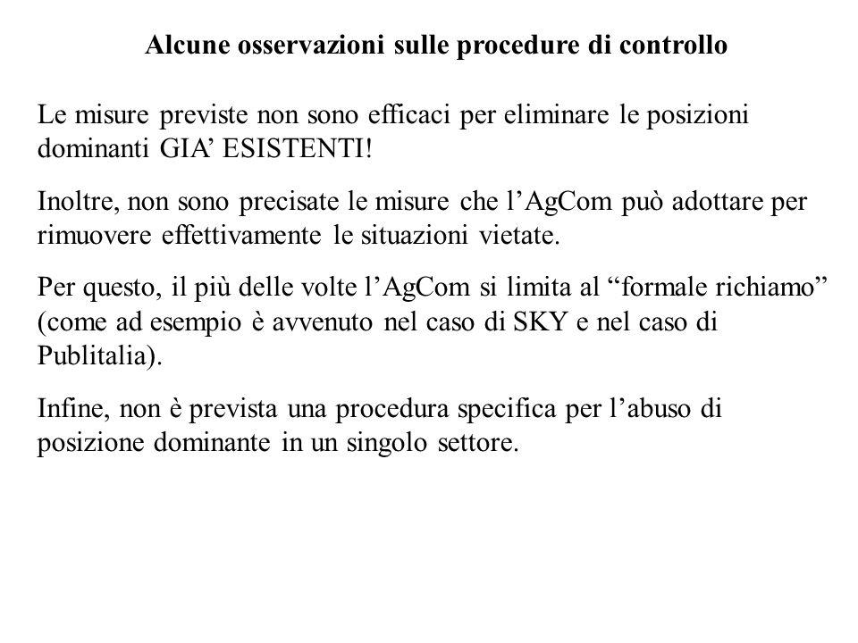 Alcune osservazioni sulle procedure di controllo