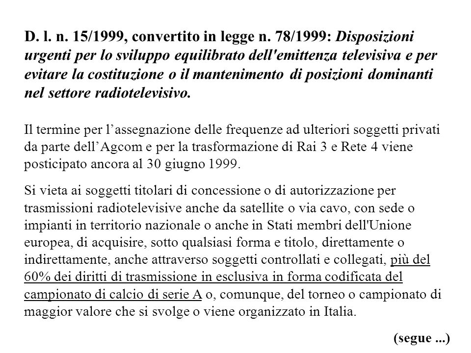 D. l. n. 15/1999, convertito in legge n