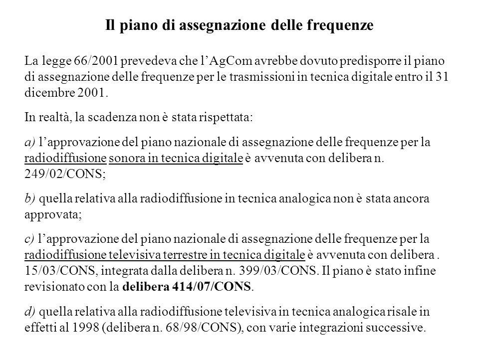 Il piano di assegnazione delle frequenze