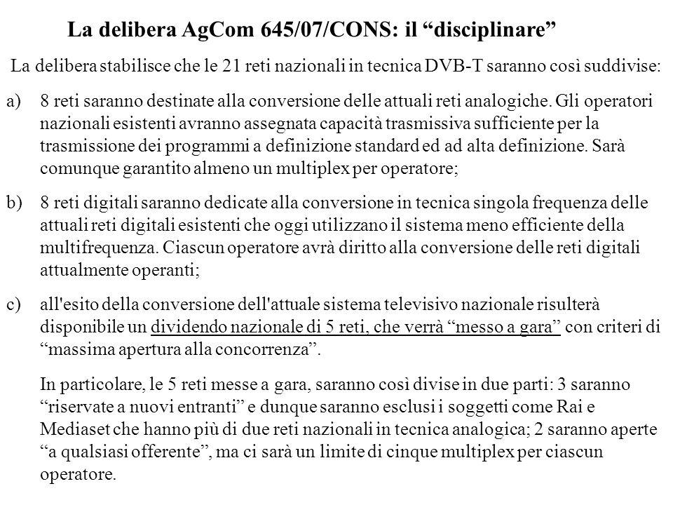 La delibera AgCom 645/07/CONS: il disciplinare