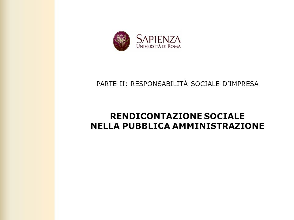 RENDICONTAZIONE SOCIALE NELLA PUBBLICA AMMINISTRAZIONE