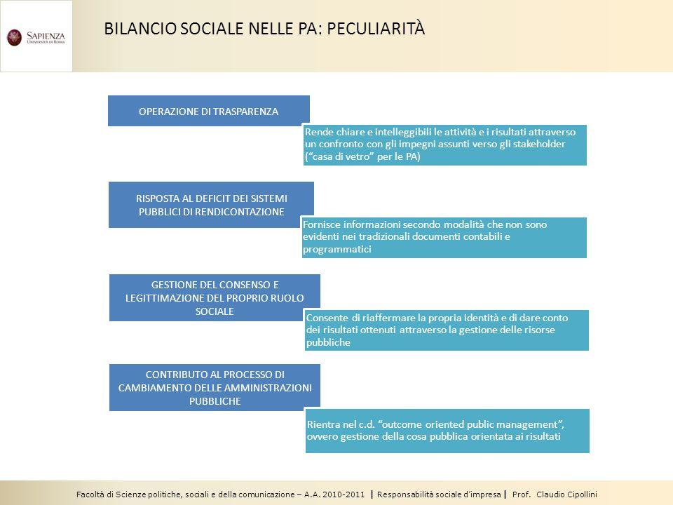BILANCIO SOCIALE NELLE PA: PECULIARITÀ