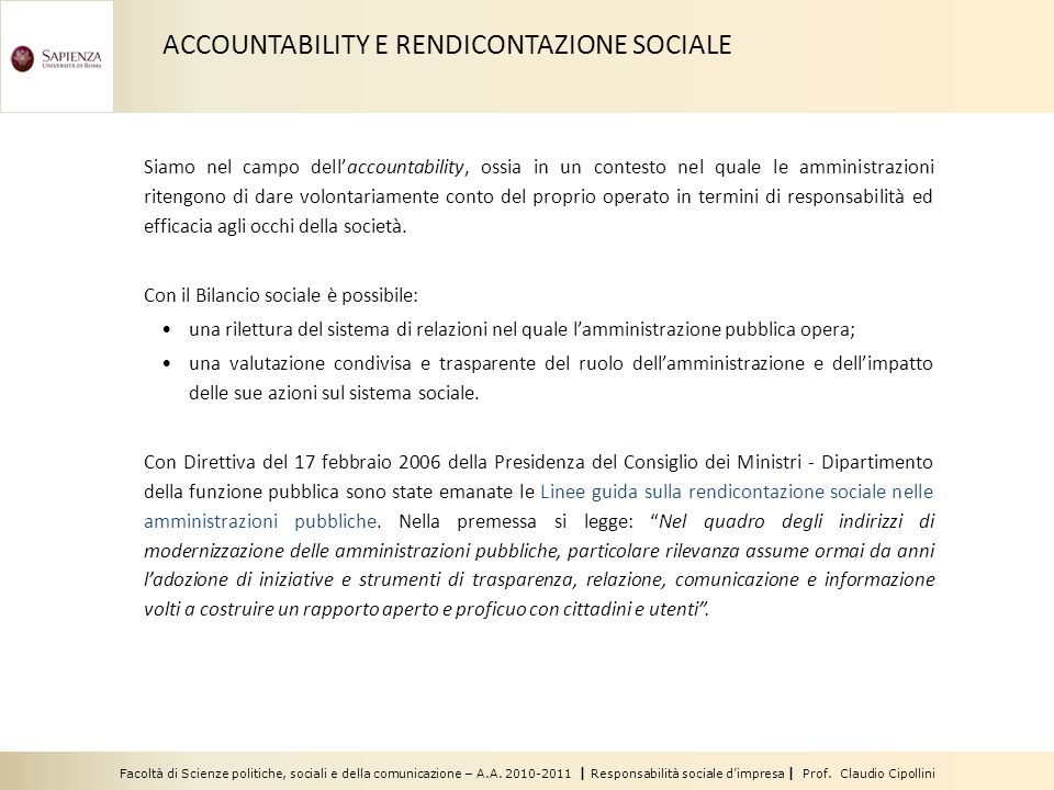 ACCOUNTABILITY E RENDICONTAZIONE SOCIALE