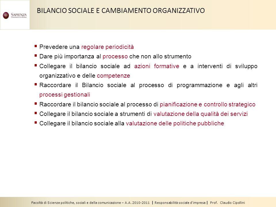 BILANCIO SOCIALE E CAMBIAMENTO ORGANIZZATIVO